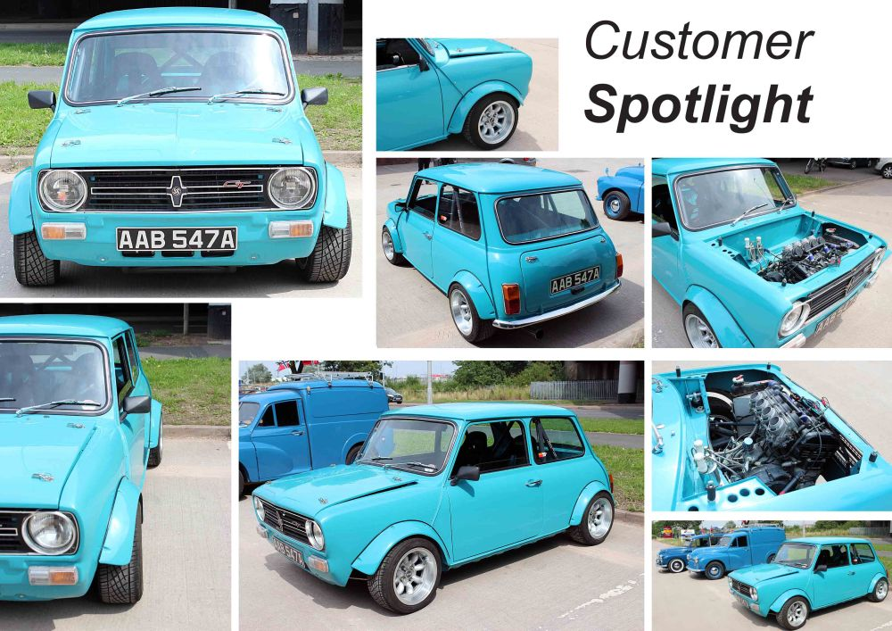 Customised Blue Classic Mini at the David Manners Group