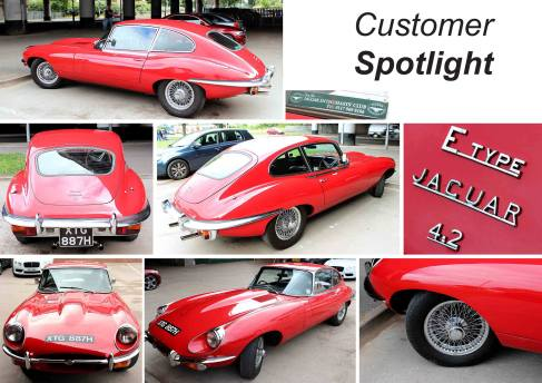 Vibrant Red jaguar E-Type 2+2 at the David Manners Group