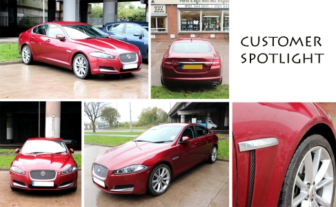 Red Jaguar XF at the David Manners Group