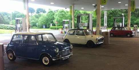 It's thirsty work for these 3 Classic Mini's