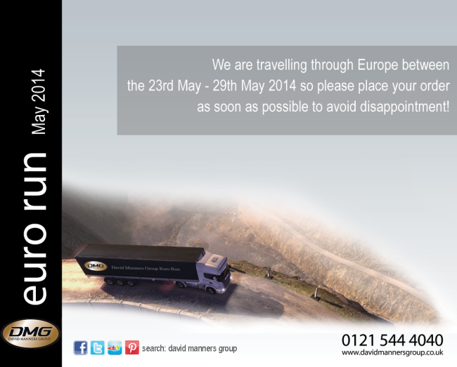 May 2014 Delivery Across Europe – DMG Euro Run